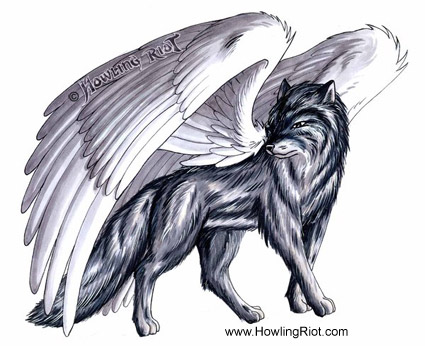 anime wolves. anime wolves pics. winged wolf